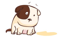 Sad dog sitting on the ground illustration Stock Images