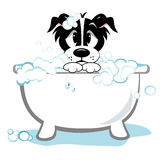 Sad Dog Taking Bath. Cartoon dog taking bath in tub with soap suds clipart stock illustration