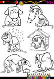 Sad dogs group cartoon coloring book. Coloring Book or Page Cartoon Illustration of Black and White Poor Sad Homeless Stray Dogs Set for Children Stock Photos
