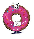 Sad doughnut cartoon Royalty Free Stock Image