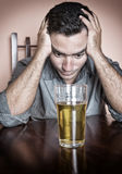 Sad drunk hispanic man Royalty Free Stock Photography