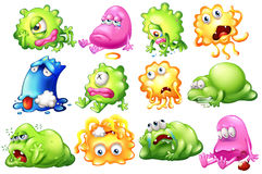 Sad and dying monsters. Illustration of the sad and dying monsters on a white background Stock Photography