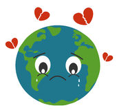Sad Earth Crying With Breaking Heart Concept Illustration Royalty Free Stock Photography