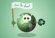 Sad earth with recycle symbol. Illustration of sad earth for the salvation of the planet Stock Photos