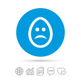 Sad egg face sign icon. Sadness symbol. Stock Photo