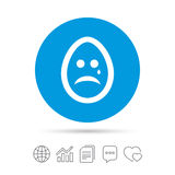 Sad egg face with tear sign icon. Crying symbol. Royalty Free Stock Images
