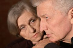Sad elder couple Stock Images