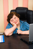 Sad elderly business woman royalty free stock photo