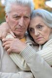 Sad elderly couple in the park Stock Image