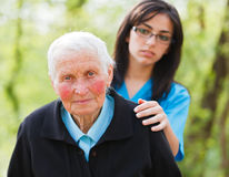 Sad Elderly Lady Stock Photos