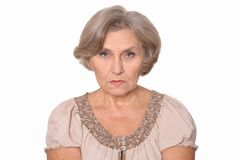 Sad elderly woman portrait Royalty Free Stock Images