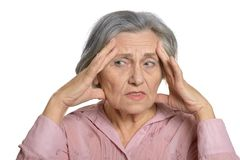 Sad elderly woman Stock Photo