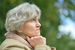 Sad eldery woman Royalty Free Stock Photos