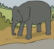 Sad elephant. Cartoon of a tearful friendly elephant Stock Photos
