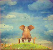 Sad elephant sitting on  bench Stock Images