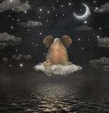 Sad elephant sitting on cloud in sky stock illustration