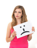 Sad emoticon face sign Stock Photo
