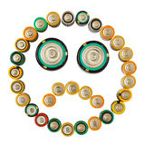 Sad emoticon made from batteries isolated Royalty Free Stock Photography