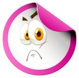Sad emoticon pink border sticker Stock Images
