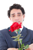 Sad and emotionally affected by woman man in a suit holding a re Royalty Free Stock Image
