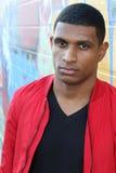 Sad ethnic gorgeous African boy outside royalty free stock images