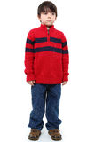 Sad Expression. Hansome six year old boy in winter casual with sad expression stock images