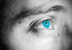 Sad face. Tearful eyes on a sad face (monochrome royalty free stock images