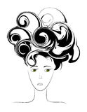 Sad face. Abstract vector picture of sad female face royalty free illustration
