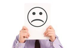 Sad Face. Man keeping sad face, isolated on white background stock image