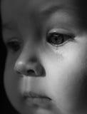 Sad face baby. A tear on the face Stock Photo