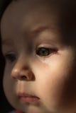 Sad face baby. A tear on the face Royalty Free Stock Photos