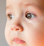 Sad face baby. A tear on the face.  royalty free stock images