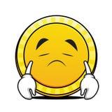 Sad face coin cartoon character. Vector illustration Stock Photo