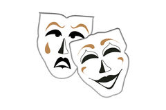 Sad face Happy face. Theatrical  mask, isolated on white background Royalty Free Stock Image