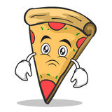 Sad face pizza character cartoon. Vector illustration Royalty Free Stock Images