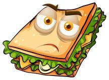 Sad face on sandwich Stock Photography