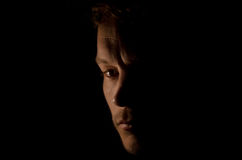 Sad Face In The Shadows Stock Photo
