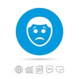 Sad face sign icon. Sadness symbol. Stock Image