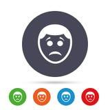 Sad face sign icon. Sadness symbol. Royalty Free Stock Image