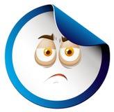 Sad face on sticker Stock Photo