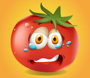 Sad face on tomato Stock Image