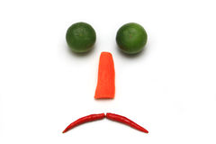 Sad face with vegetable isolated Royalty Free Stock Photography