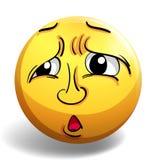 Sad face on yellow badge Stock Photography