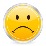 Sad face yellow circle icon Royalty Free Stock Photo