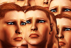 Sad Faces Background 5. An conceptual background image made out of women's faces that are sad Royalty Free Stock Photos