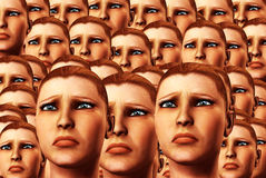 Sad Faces Background 8. An conceptual background image made out of women's faces that are sad Royalty Free Stock Photo