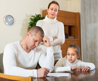 Sad family having financial problems Stock Images