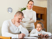 Sad family having financial problems Stock Photo