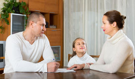 Sad family having financial problems Royalty Free Stock Image