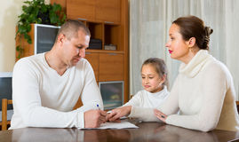 Sad family having financial problems Royalty Free Stock Photo